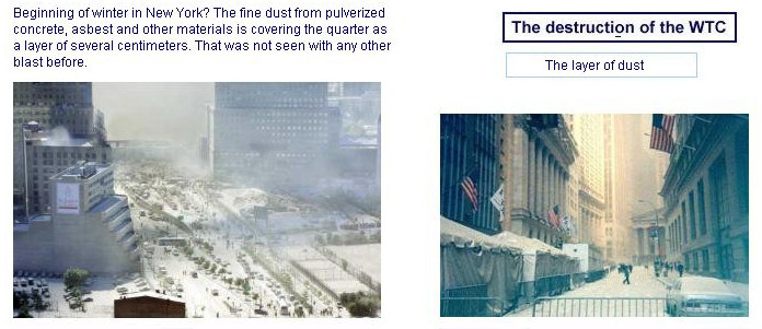 Clouds of pulverized concrete and asbestos dust blanket NYC after the WTC buildings were professionally demolished with explosives