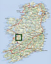 Map of Ireland with town of Gort outlined- where St. Colman Mac Duagh built the famous Kilmacduagh Monastery in 610 A.D.
