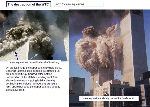 WTC 2 Bombs Detonating